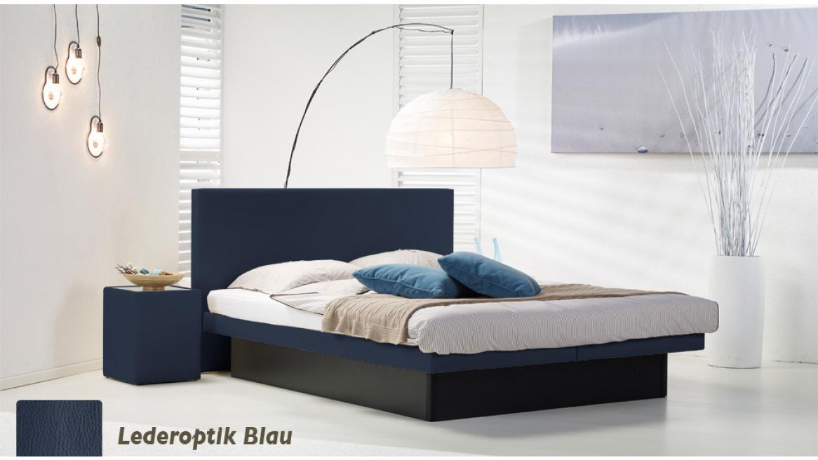 wasserbett luxus pro podest lederoptik blau
