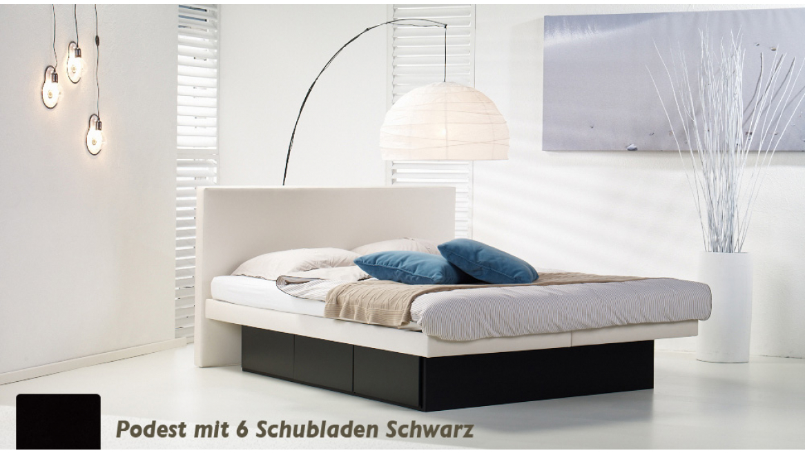 wasserbett luxus pro podest mit 6 schubladen schwarz
