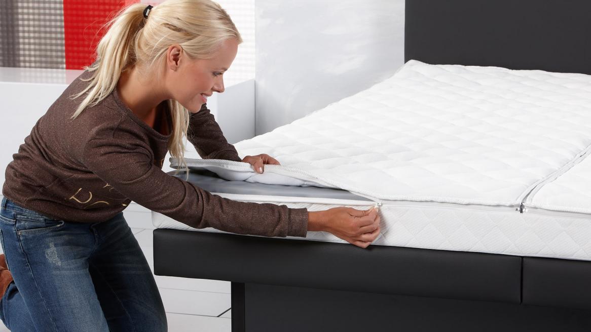 Wasserbett Luxus Pro Bezug mittels Reißverschluss schließen